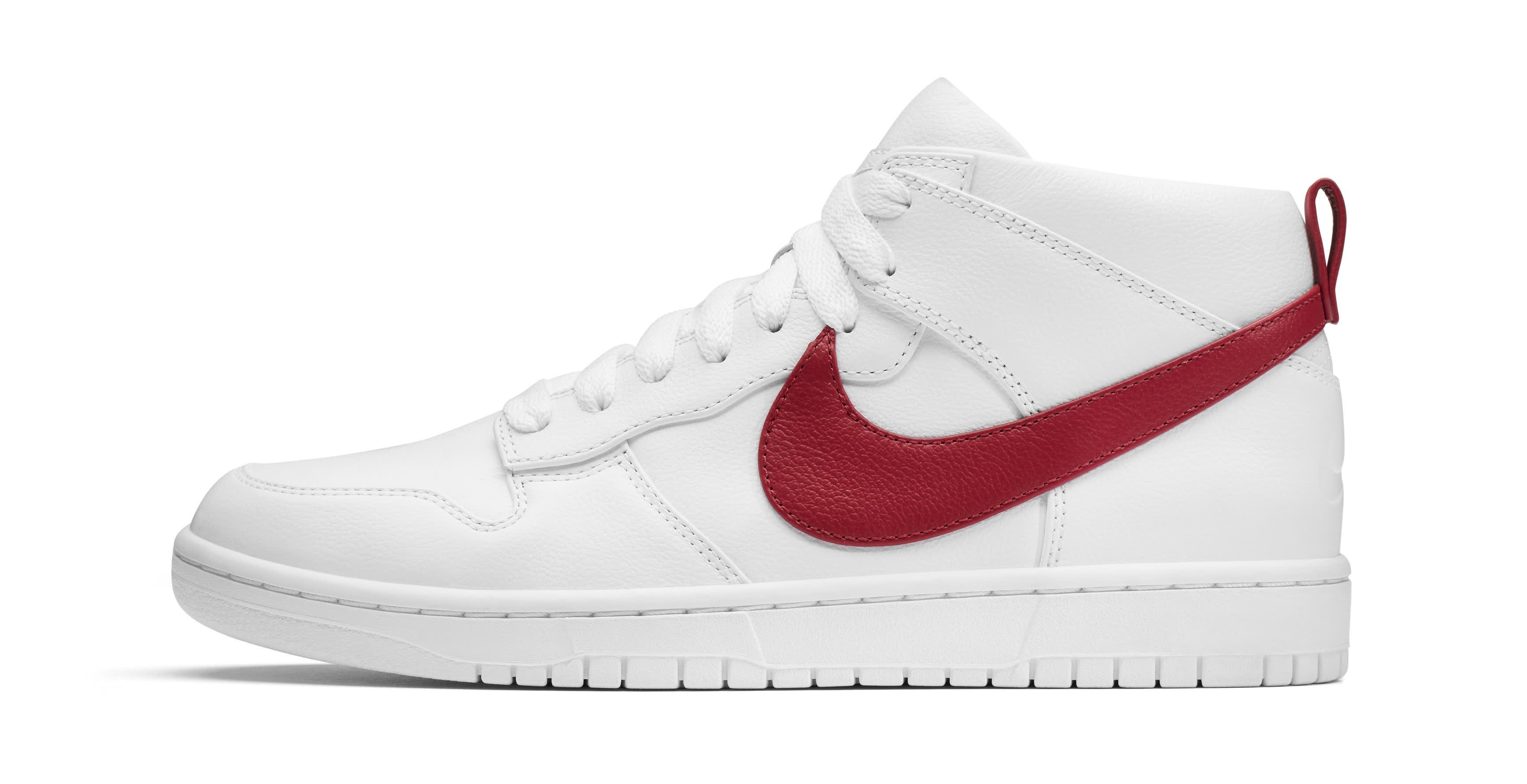 5ce46575c3f5 Image via Nike Riccardo Tisci Nike Dunk Chukka White Red Profile
