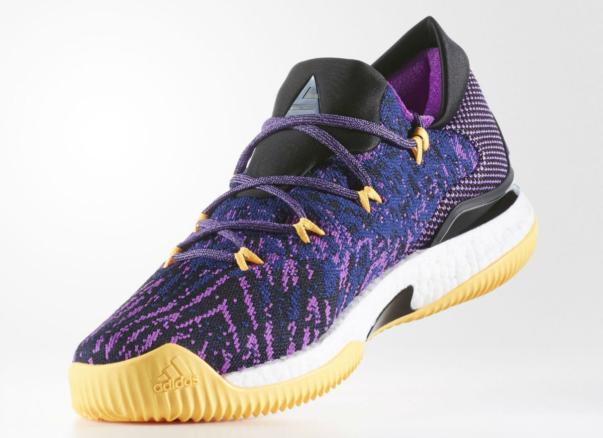 Adidas crazylight boost low 2016 bred black red mens basketball shoes - Adidas Crazylight Boost Swaggy P Lakers Medial Bb8175