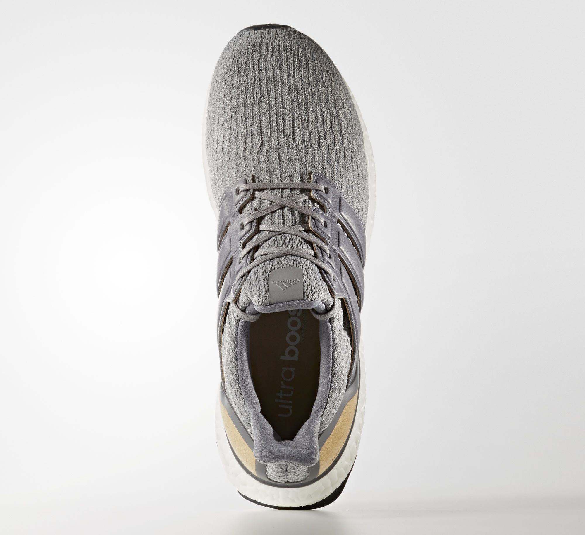 bbb77e275 Image via Adidas Adidas Ultra Boost 3 Grey Leather Suede BB1092 Top