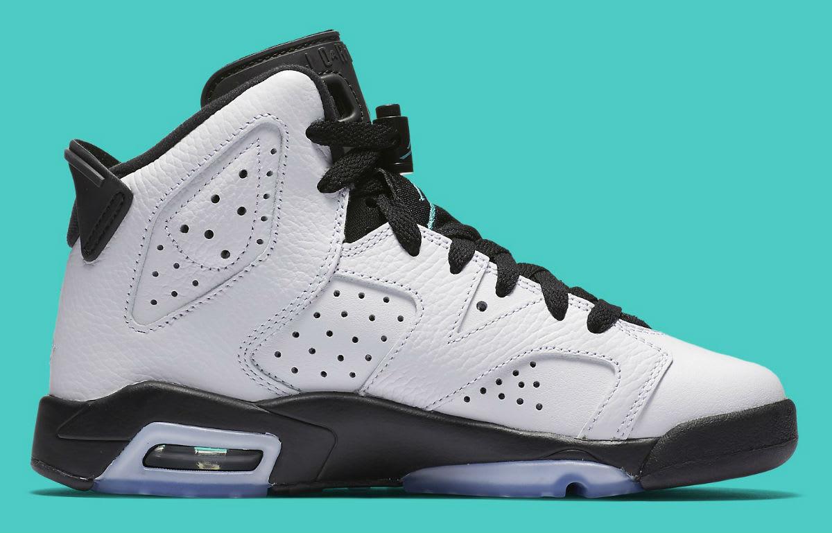 Air Jordan 6 GS White Black Jade Medial 384665-122
