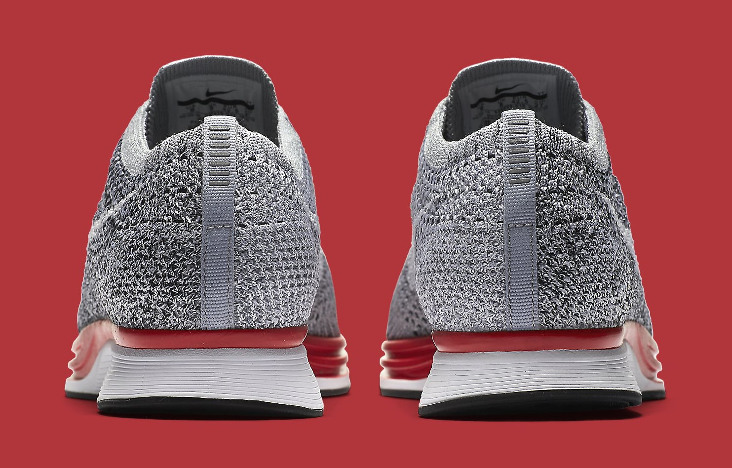 Nike Flyknit Racer Grey Red 526628-013 Heel