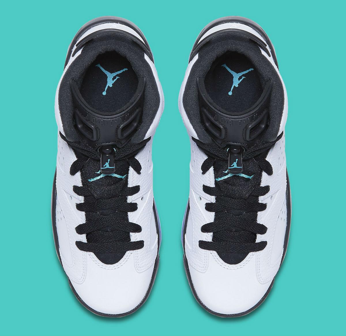 Air Jordan 6 GS White Black Jade Top 384665-122