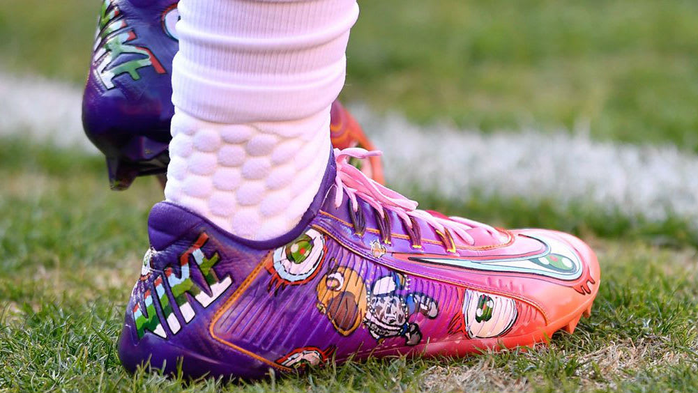 Odell Beckham Kanye West Murakami Graduation Cleats by Kickasso On-Foot
