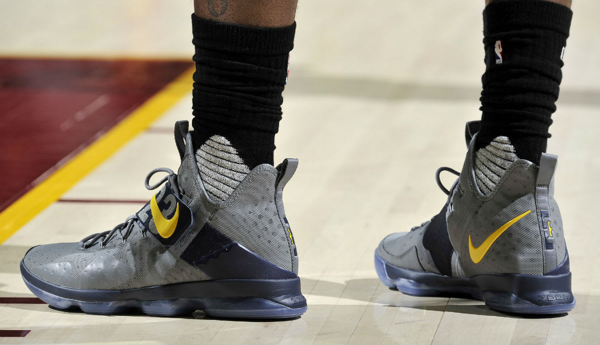 the best attitude 6af09 33bb5 ... france lebron james nike lebron 14 grey yellow pe on left 79f90 4dc5d