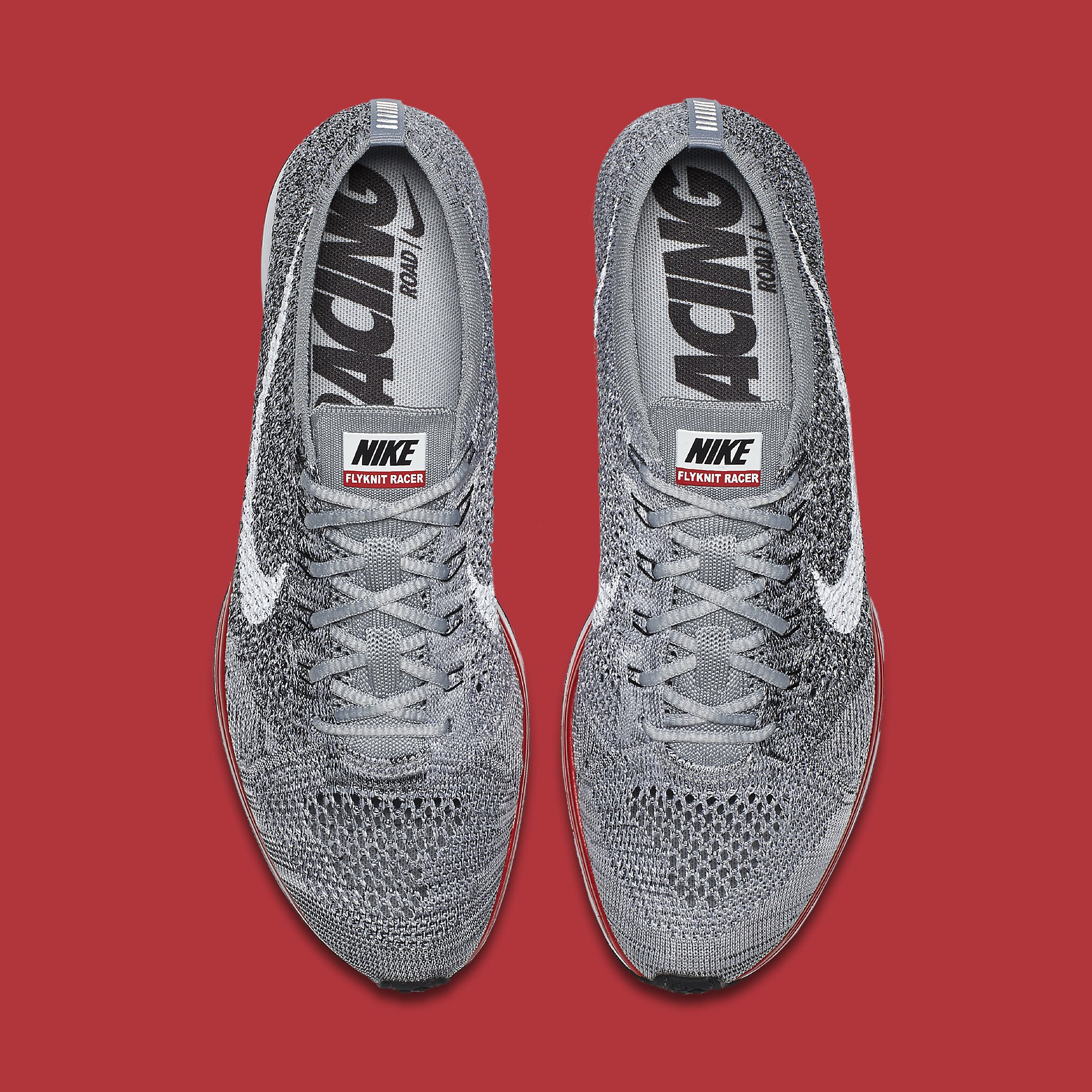 Nike Flyknit Racer Grey Red 526628-013 Top