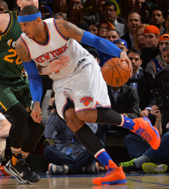 new arrival 58faf 0d9d6 SoleWatch: Carmelo Anthony Wears a Very 'Knicks' Jordan Melo ...