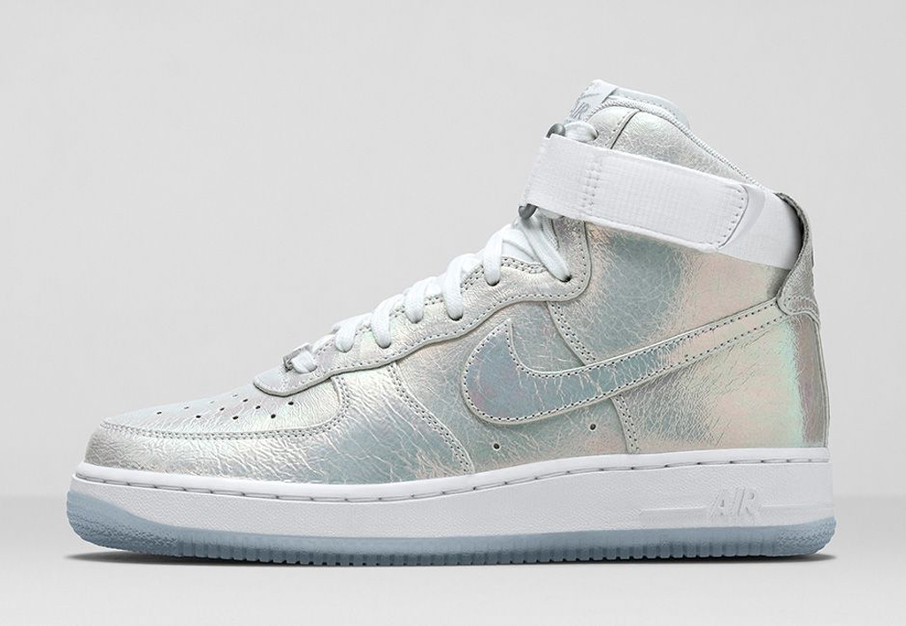 nike air force 1 low premium iridescent white metal silver