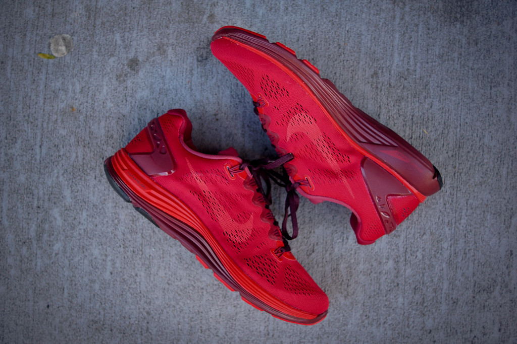 Nike x Undercover GYAKUSOU LunarGlide+ 5 in Sport Red Gym Red and Burgundy