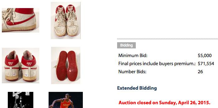 san francisco 345a3 e29bb Michael Jordan s Game-Worn Nike Air Ship Sneakers Sold for  71K