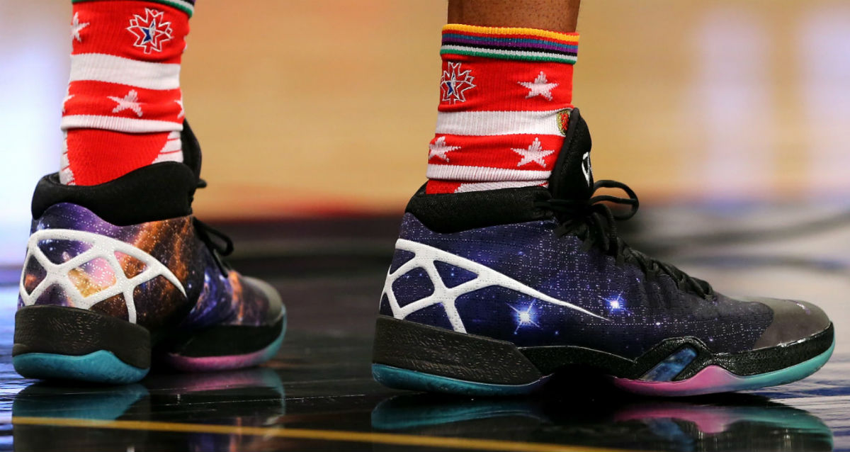 lowest price a5d87 3351c via NBAE 2016 · Russell Westbrook Wearing the  Cosmos  Air Jordan XXX (2)