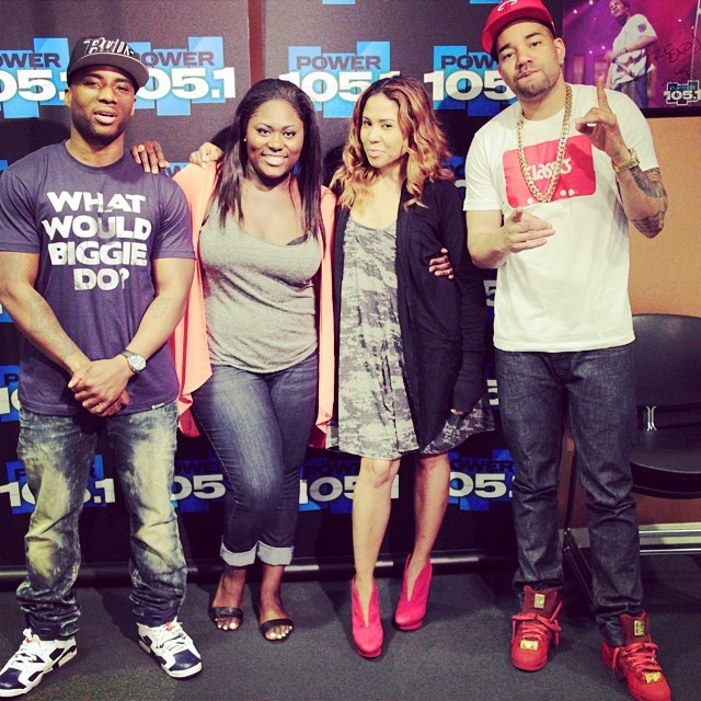 Charlamagne wearing Air Jordan VI 6 Olympic; DJ Envy wearing Big Sean x adidas Pro Model Detroit Player