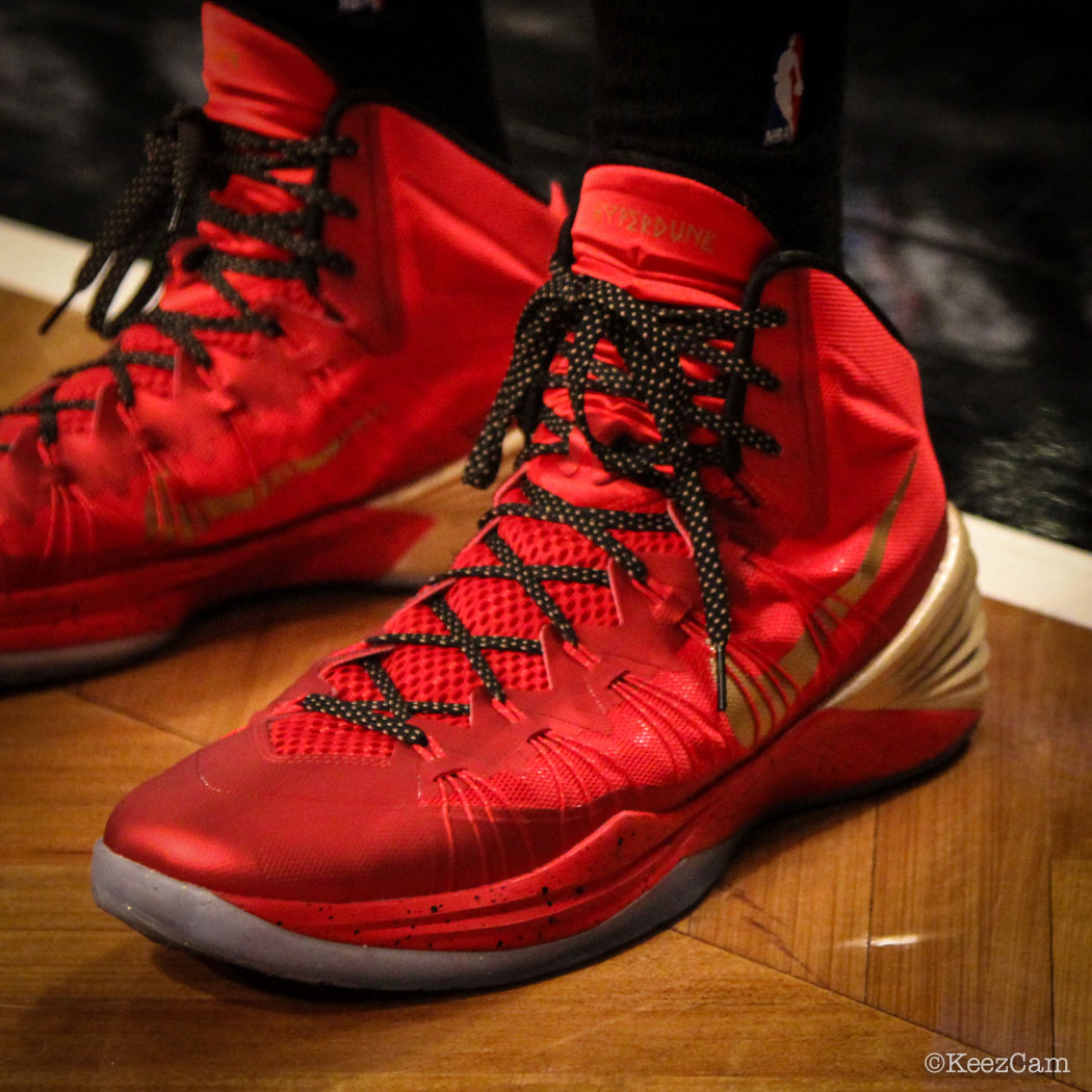 Sole Watch // Up Close At Barclays for Nets vs Heat - Rashard Lewis wearing Nike Hyperdunk 2013 PE