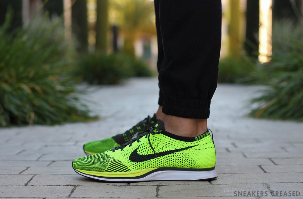 newest bf6f5 fe957 Nike Flyknit Racer Volt On Feet