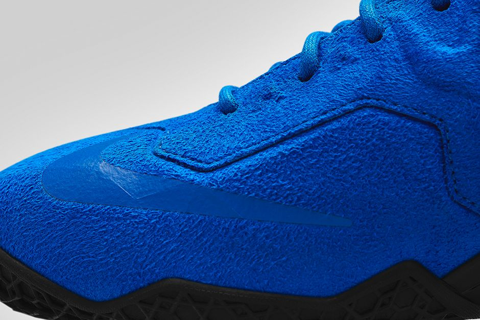 Nike LeBron 11 EXT Blue Suede Toe Detail