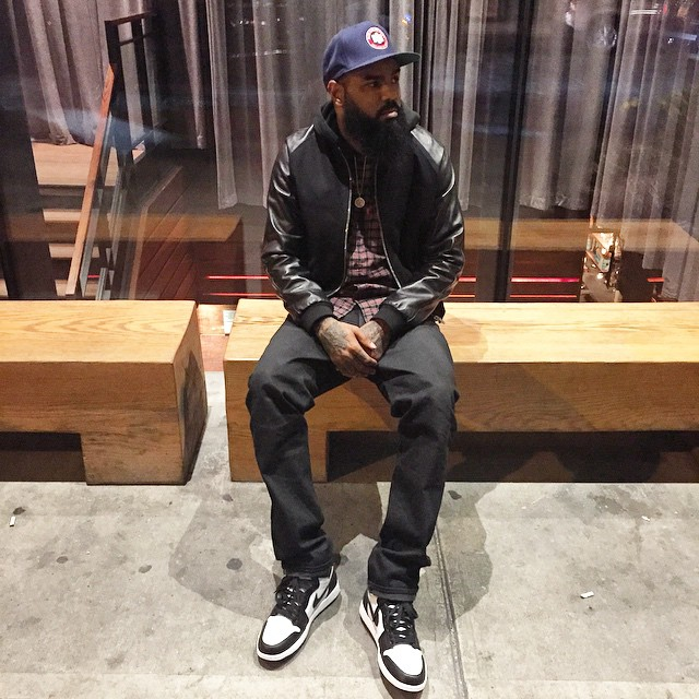 Stalley wearing Air Jordan I 1 Black/White