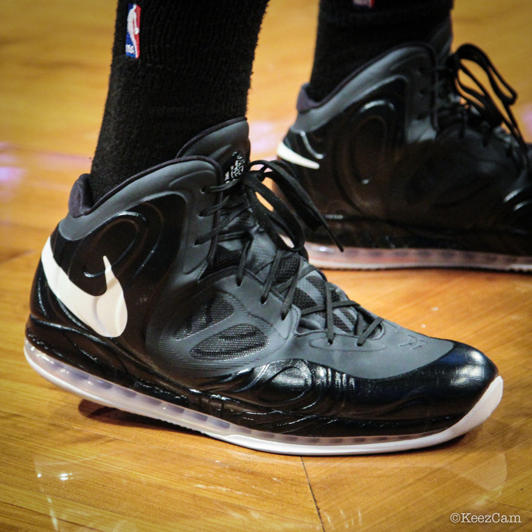 Sole Watch // Up Close At Barclays for Nets vs Heat - Joel Anthony wearing Nike Air Max Hyperposite