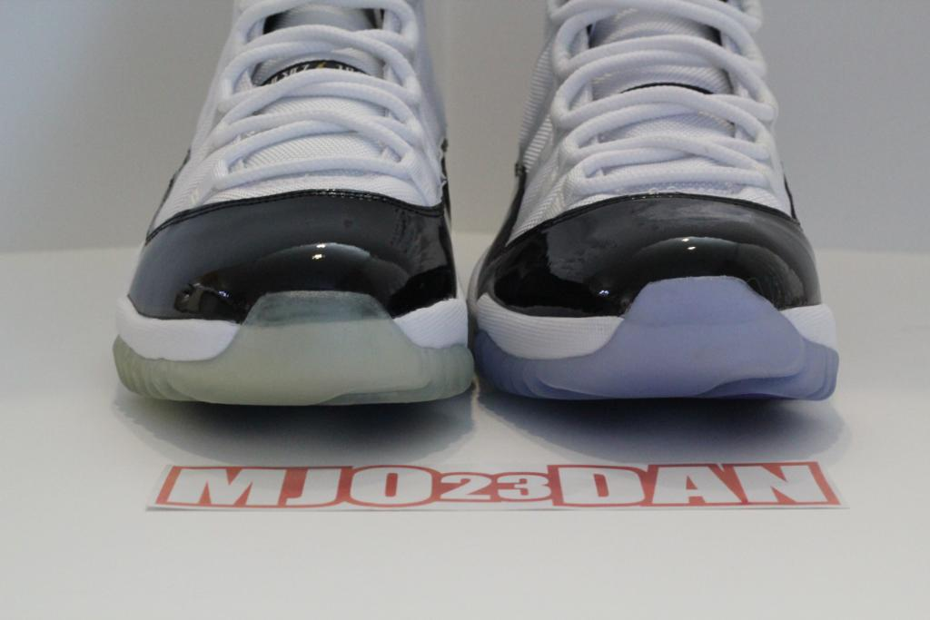 "Air Jordan Retro 11 ""Concord"" (2011) vs. Air Jordan Retro 11 ""DMP"" (2006)"
