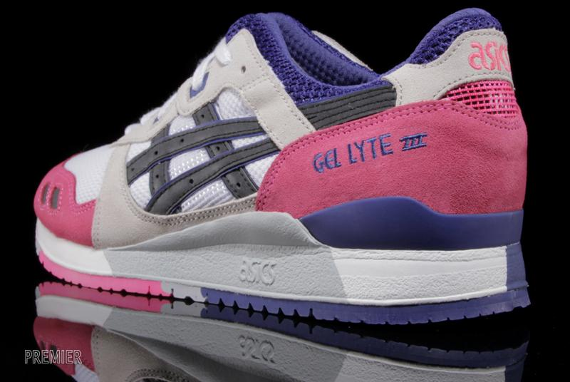 asics gel lyte III pink white purple heel
