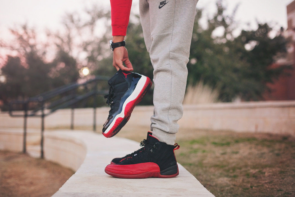 d_gully wearing the 'Flu Game' Air Jordan XII 12