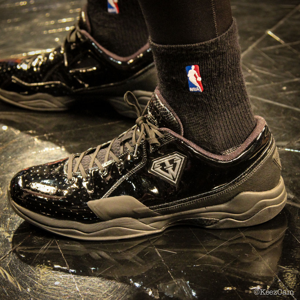 SoleWatch // Up Close At Barclays for Nets vs Knicks - Metta World Peace wearing BALL'N Layup Tru Warier
