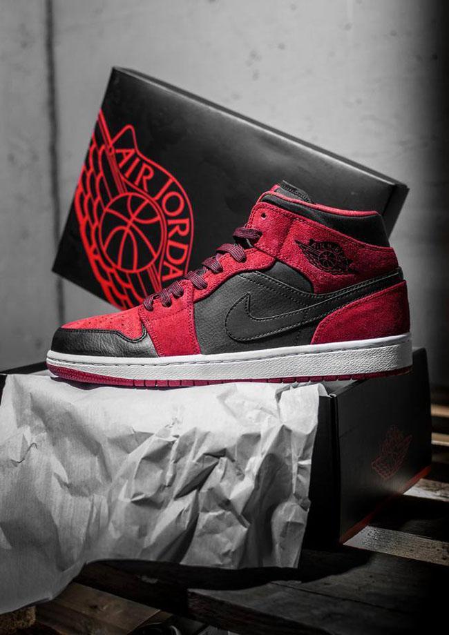 Air Jordan 1 Mid in Red and Black Suede