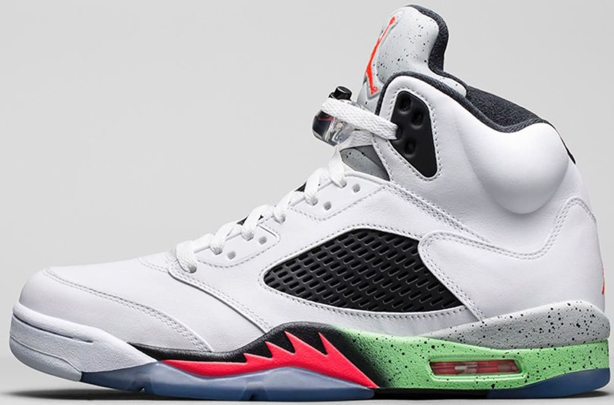 Black Label Price >> Air Jordan 5 Retro White/Infrared 23-Light Poison Green ...