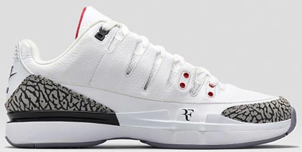 16a2dda358ac Nike Zoom Vapor AJ3 White Fire Red-Cement Grey