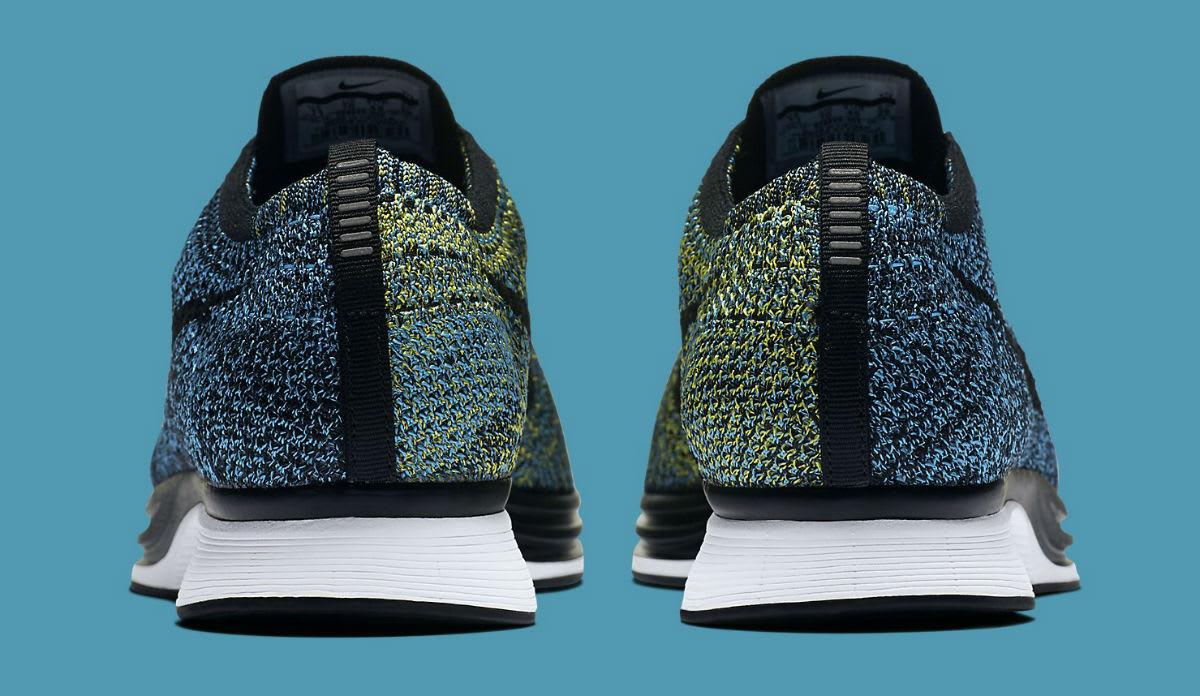 8791c7ebfa047 Nike Flyknit Racer Blue Glow Yellow Strike Release Date Heel 526628-405