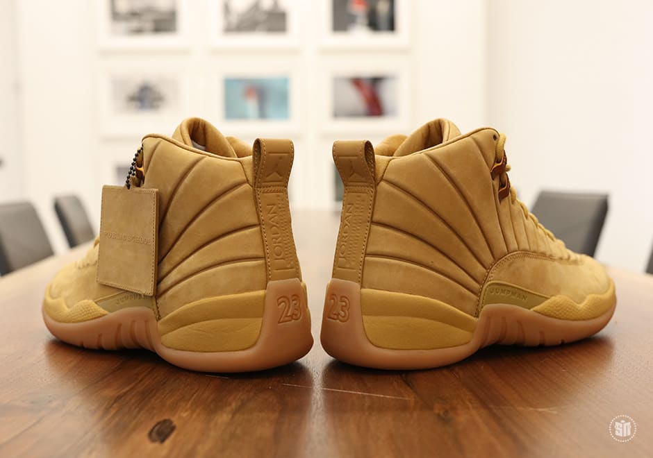PSNY x Air Jordan 12 Wheat Release Date Heel