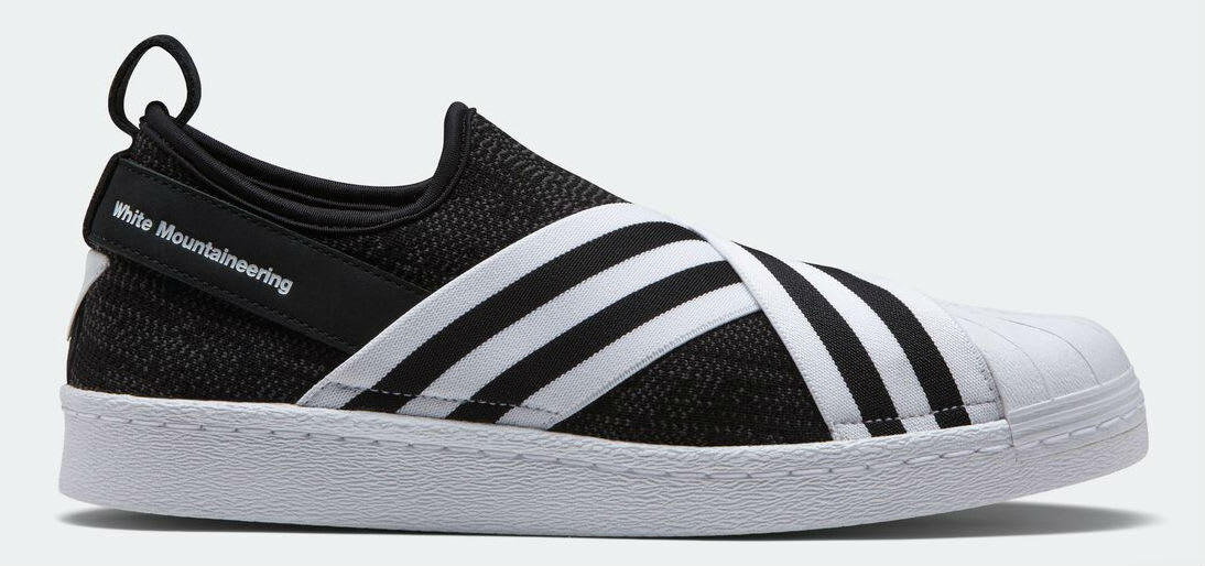 White Mountaineering x Adidas Superstar Slip-On Black Profile