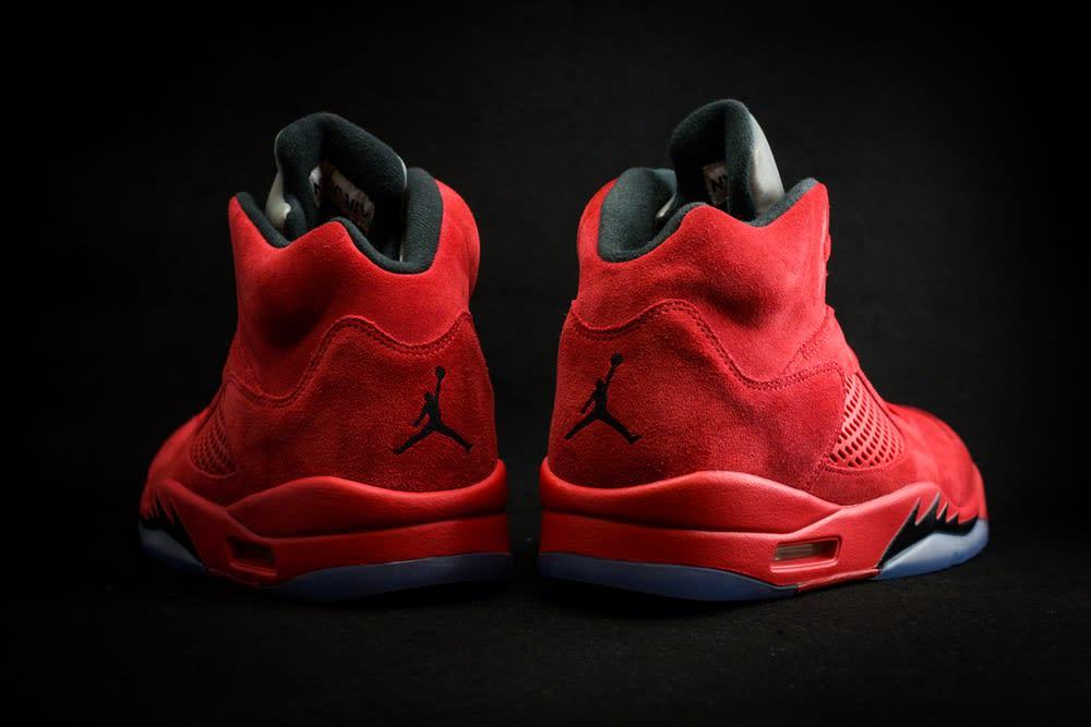 Air Jordan 5 Red Suede Release Date Heel 136027-602