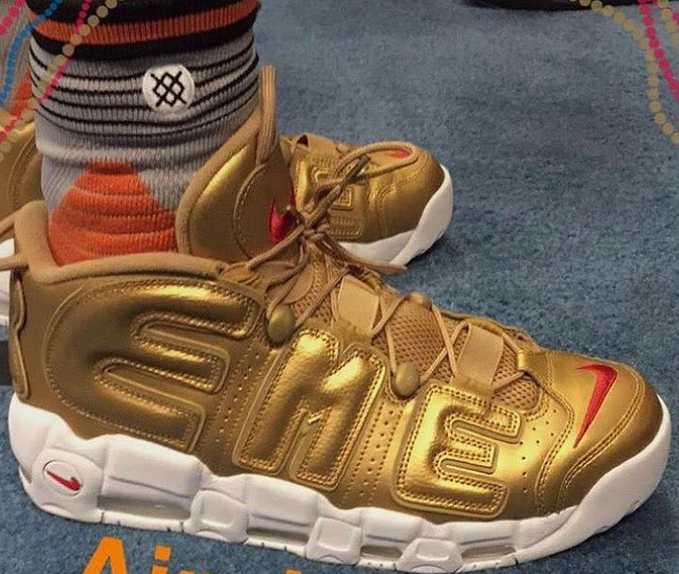 Derrick Jones Gold Supreme Nike Air More Uptempo