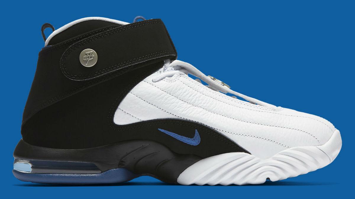 fb12f53a625d Nike Air Penny 4 OG White Black Blue Release Date Medial 864018-100