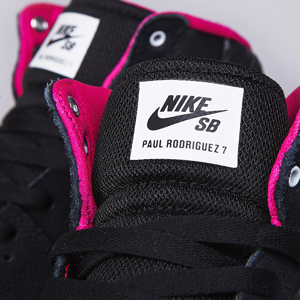 Nike SB PRod 7 High in Black White and Pink Foil tongue