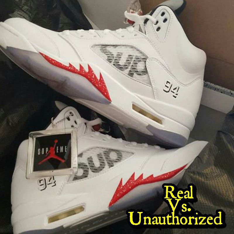 How To Tell If Your  White  Supreme Air Jordan 5s Are Real or Fake ... 0b4234521