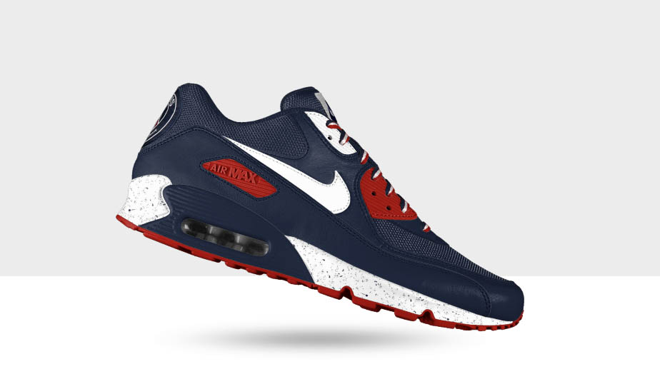 outlet store aaf0a 0d167 Nike iD allows fans of Paris Saint-Germain FC to create a customized pair  of Air Max 90 s in team colors.