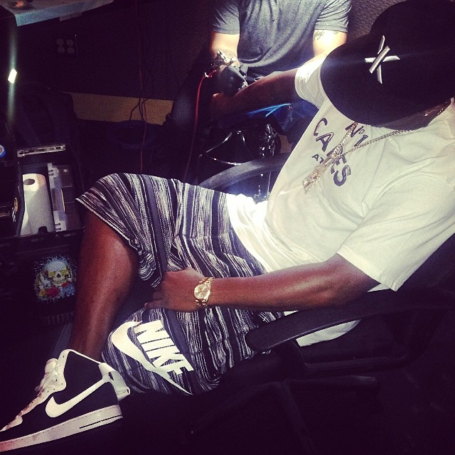 Diddy wearing Nike Air Force 1 Hi Black/White