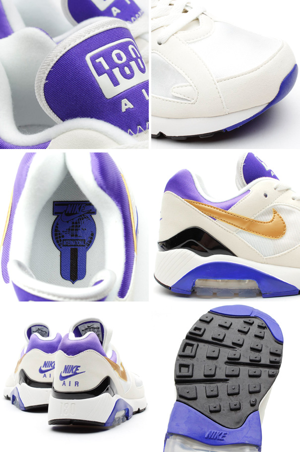 online retailer cab65 ee5cc Nike Air 180 in White Metallic Gold and Bright Concord details