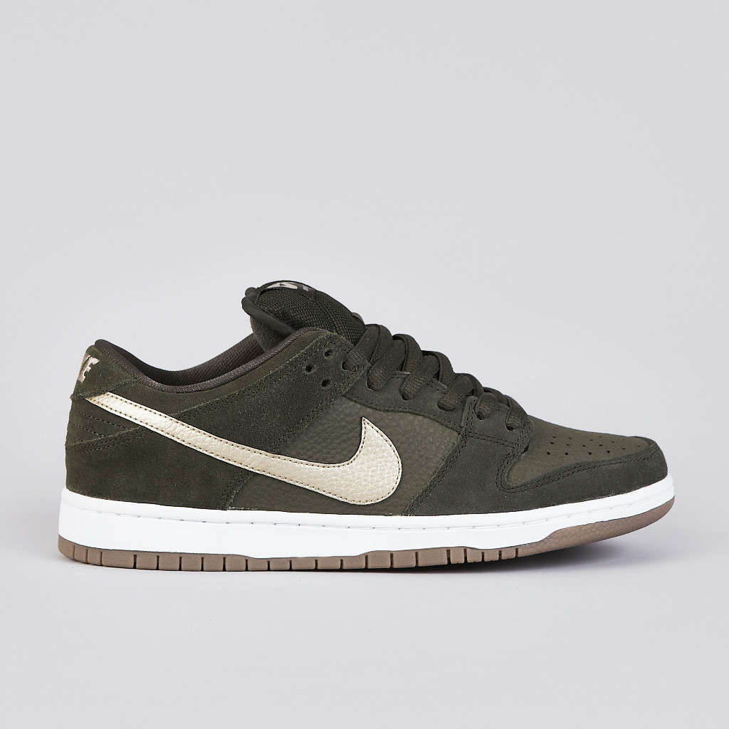 premium selection 70e27 8719c The Nike SB Dunk Low Pro in Sequoia   Metallic Zinc   White   Gum Dark  Brown is available now at Flatspot.