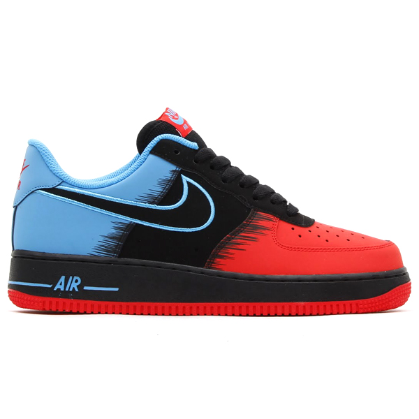 Nike Air Force 1 Low Spiderman in Light Crimson Black and Vivid Blue profile