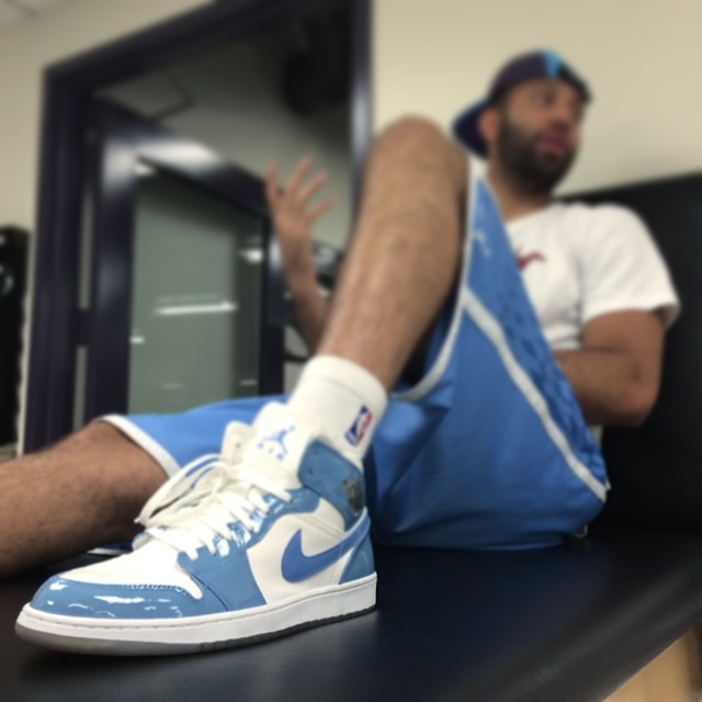 Kendall Marshall wearing Air Jordan I 1 Patent UNC