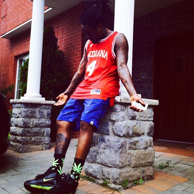 Wale wearing Nike Air Total Max Uptempo Black Volt b0e495f2c2