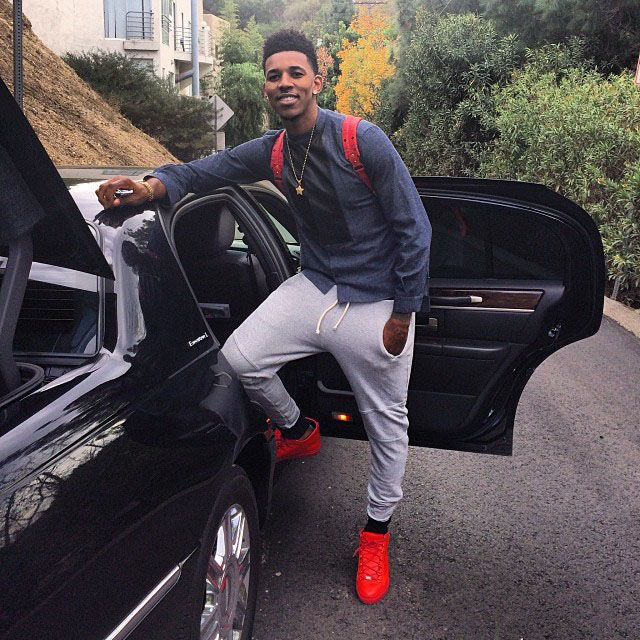 Nick Young wearing Balenciaga Arena Red