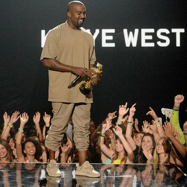 Kanye West wearing the 'Beige' adidas Yeezy 350 Boost
