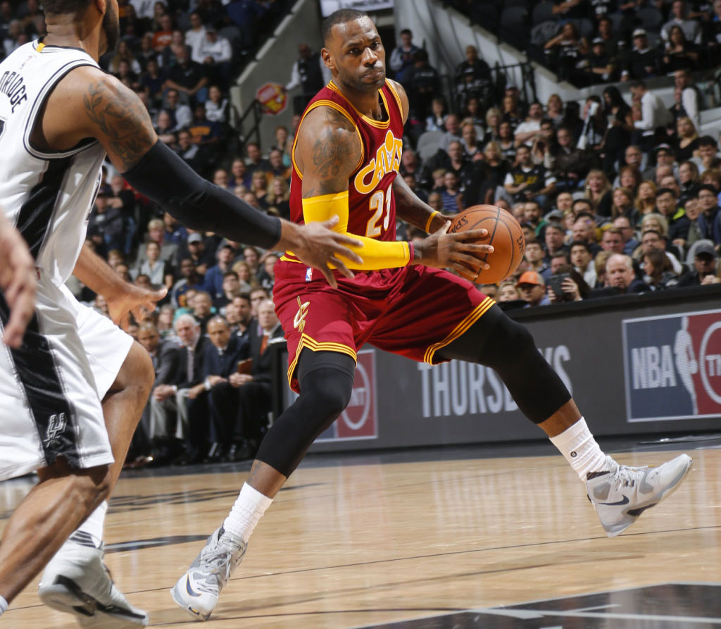 LeBron James Wearing a Grey Nike LeBron 13 Against the Spurs (6) via NBAE  2016
