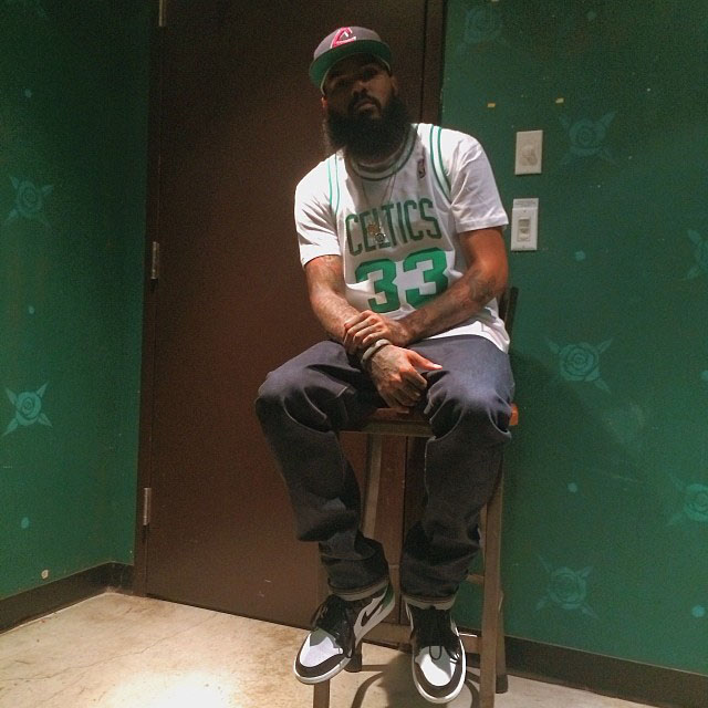 Stalley wearing Air Jordan 1 Retro Celtics