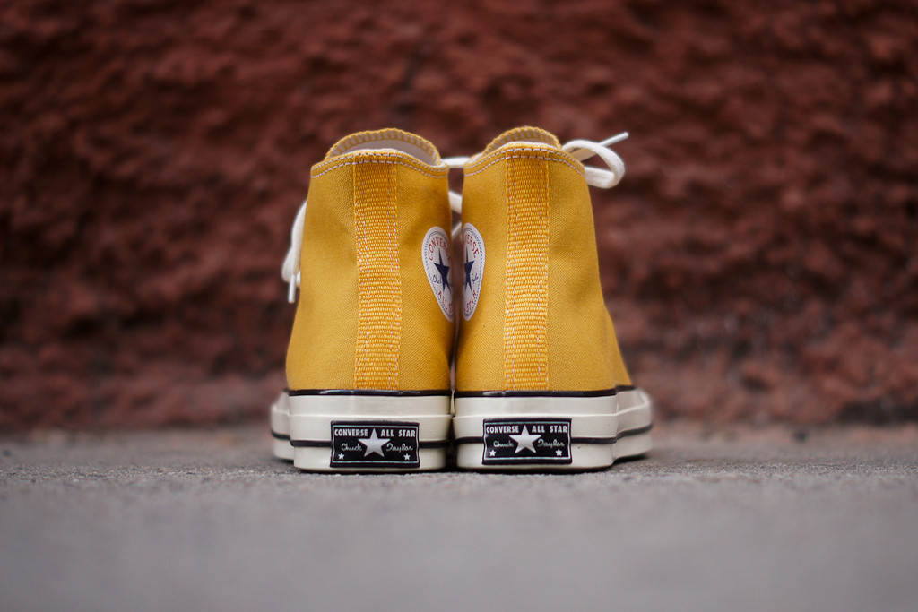 9da9cf6c8a4793 The Converse First String Standards 1970s Chuck Taylor All Star Hi in Yellow    White is available now at KithNYC.