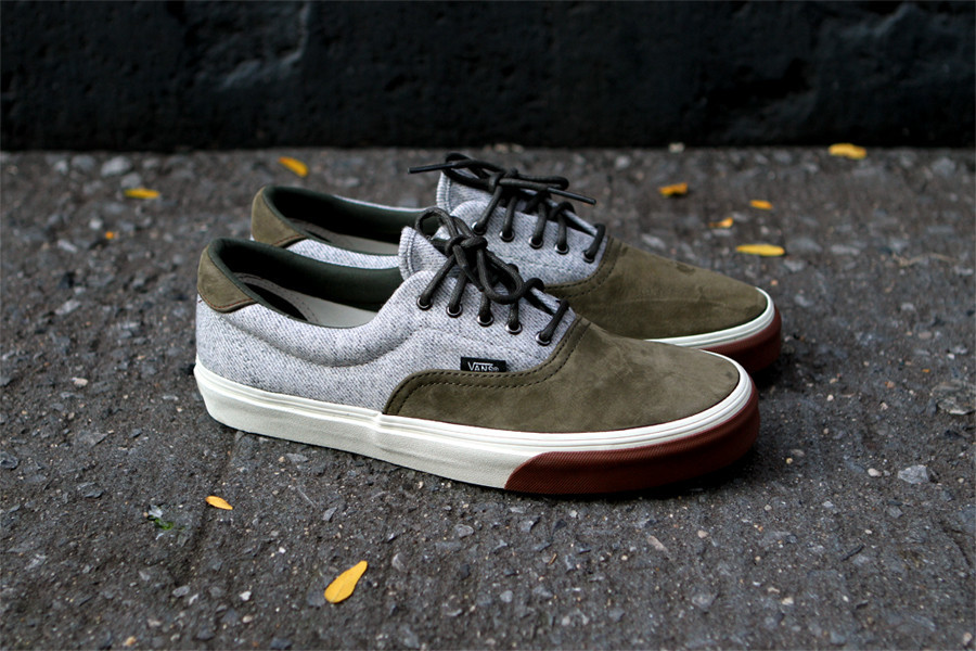 Vans California keeps the nice looks for Fall coming with this latest  version of the Era. This Olive colorway of the Nubuck and Wool Era is  available now ... ae441d5e47
