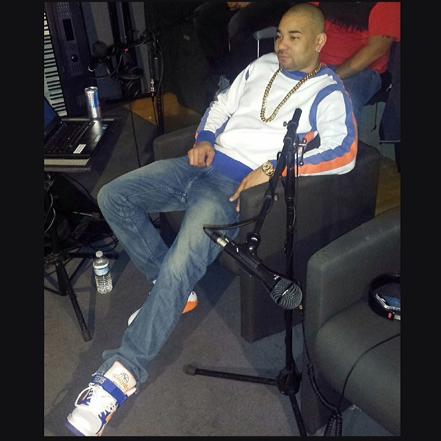 DJ Envy wearing Ewing Focus Knicks