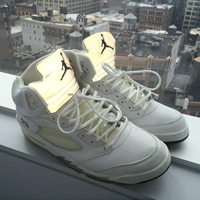 Theophilus London Picks Up Air Jordan V 5 White Metallic